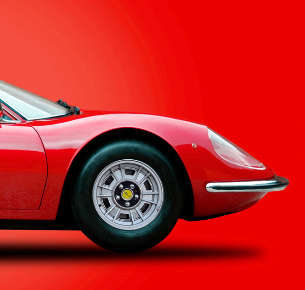 Red Ferrari banner image on a red background