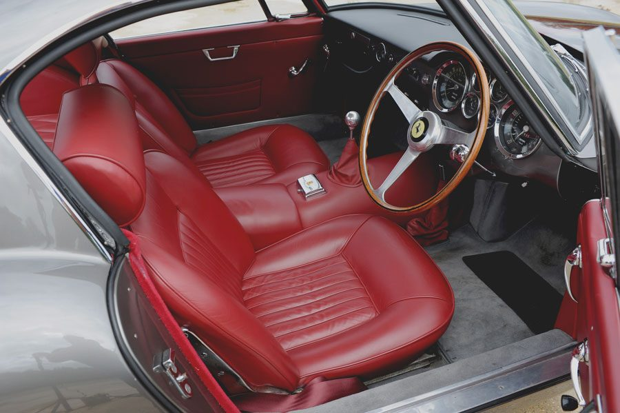 A Classic Ferarri GT250 Interior in red leather similar to one we can provide finance for.