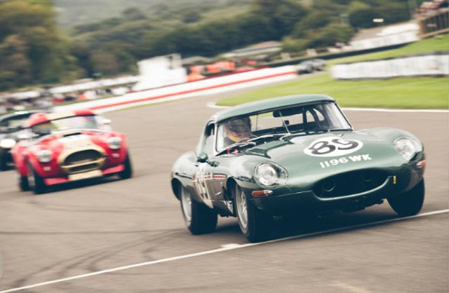 a Green E Type jaguar Racing