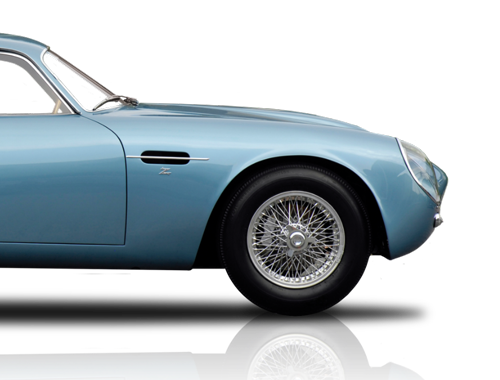 Classic Car Finance Animation of a Classic Aston Martin DB4 half image for mobile