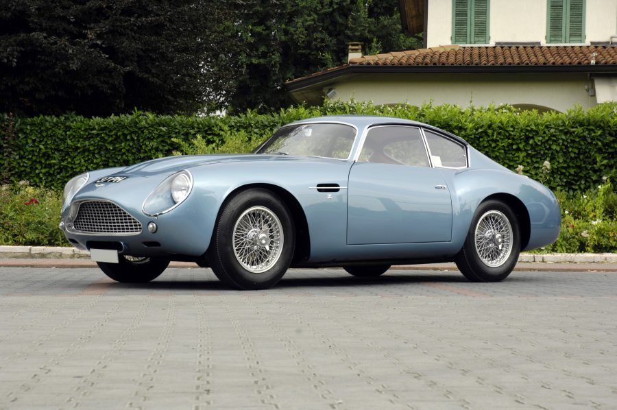 A photo of a light blue Aston Martin DB4 similar to one we have provided classic car finance for.