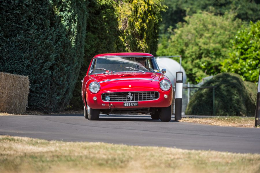 A classic Ferrari driving at the Chateau Impney Hill Climb 2018 where our Classic Car Finance team were in attendance.