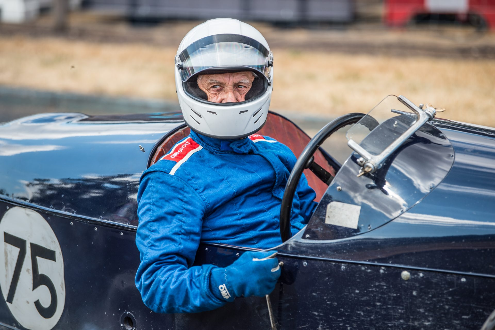 A photo of a competitor at the Chateau Impney Hill Climb 2018 where our Classic Car Finance team were in attendance.