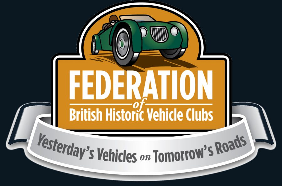 Federation of British Historic Vehicles Club Logo. The logo contains a picture animation of a green classic car above the text of the logo.