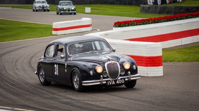 Classic Blue Jaguar at Silverstone Classic - Jack Sears Memorial Race