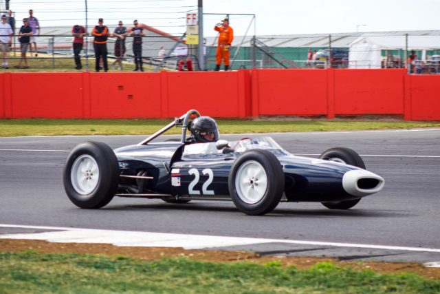 A photo of a classic race car at the Silverstone Classic 2018 event that was attended by our Classic Car Finance team.