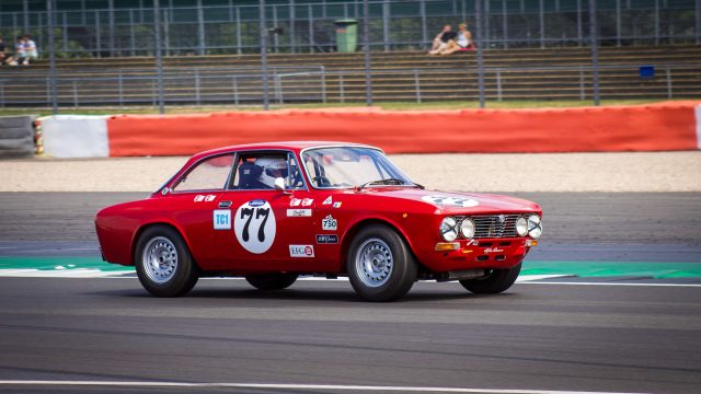 A photo of a Classic Alpha Romeo race car at the Silverstone Classic 2018 event that was attended by our classic car finance team.