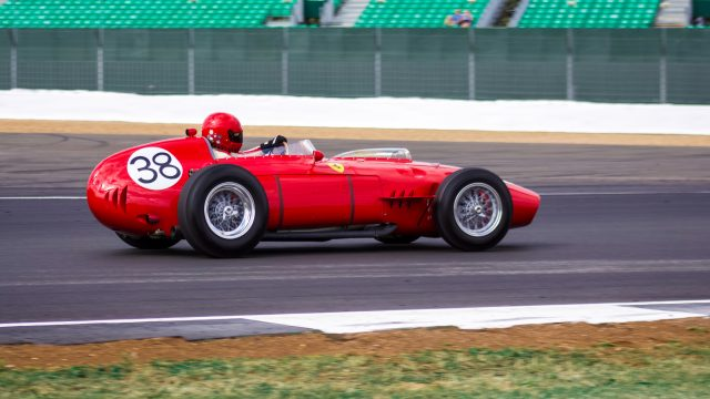 A photo of a classic Ferrari race car at the Silverstone Classic 2018 event that was attended by our classic car finance team.