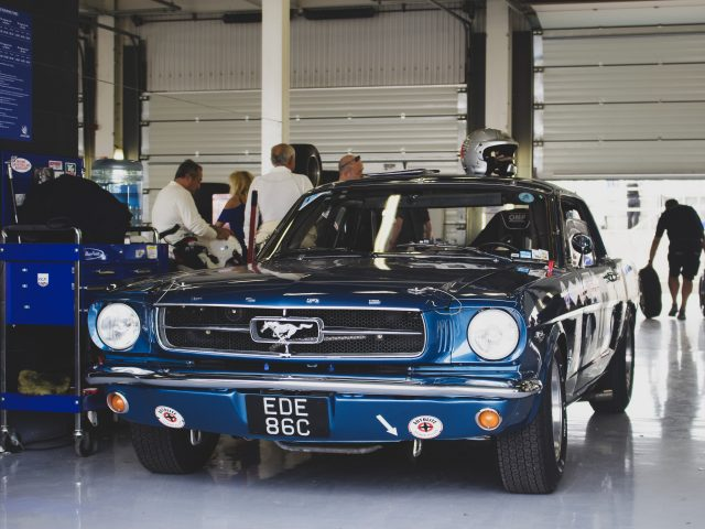 A photo of a classic blue Shelby Ford Mustang