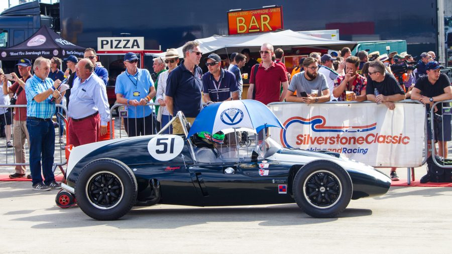 Black Classic Racecar at the Silverstone Classic. The event was attended by our classic car finance team.
