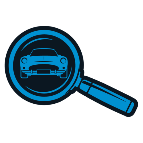 Image of a classic car through a magnifying glass denoting a stage within our purchase finance process.