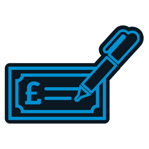 Icon of a fountain pen signing a check signifying the final agreement issued and completed then funds released image.