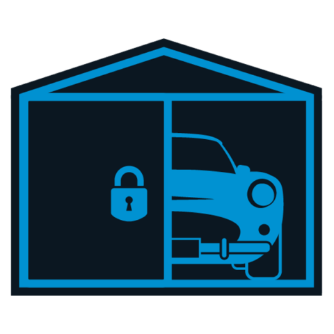 Image of a classic car showing through a garage door to denote the option of owning your car without having to part with it.