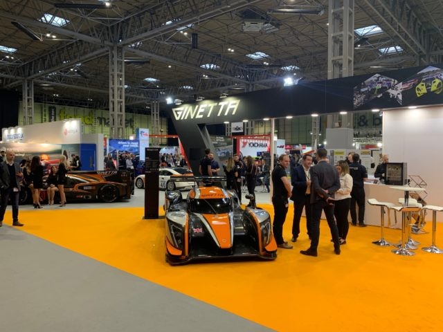 The Ginetta Stand at the Autoshow 2019 with the latest Ginetta racer in view.