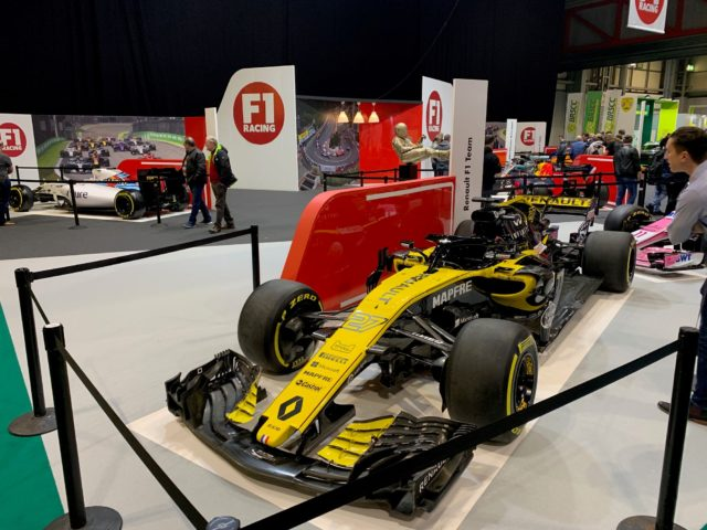 Photo of the Renault Formula 1 Car from 2019 at the Auto show 2019 which our classic car finance team attended.