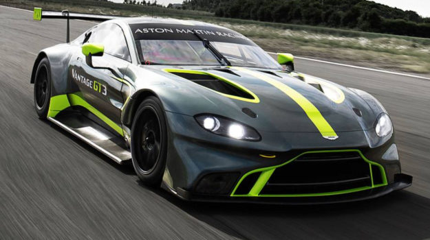 A photo of a Green and Yellow Aston Martin Vantage GT3 Race Car similar to one we provided Race Car Finance for in 2019.