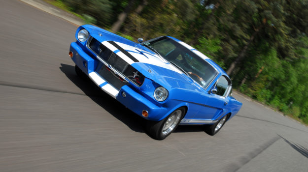 A photo of a blue Shelby GT Ford Mustang similar to one which we provided Classic Car Finance for.