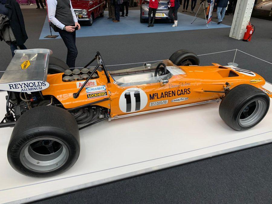 Historic McLaren racing car at London Classic Car Show 2020